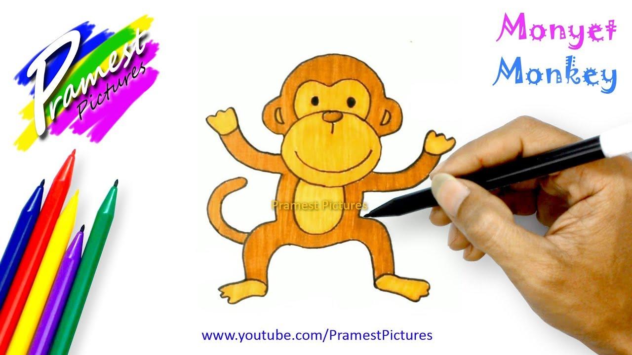 Monyet Belajar Menggambar Dan Mewarnai Hewan Untuk Anak Youtube