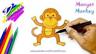 Monyet 🎨 Belajar Menggambar dan Mewarnai Gambar Hewan (How to Draw a Monkey)