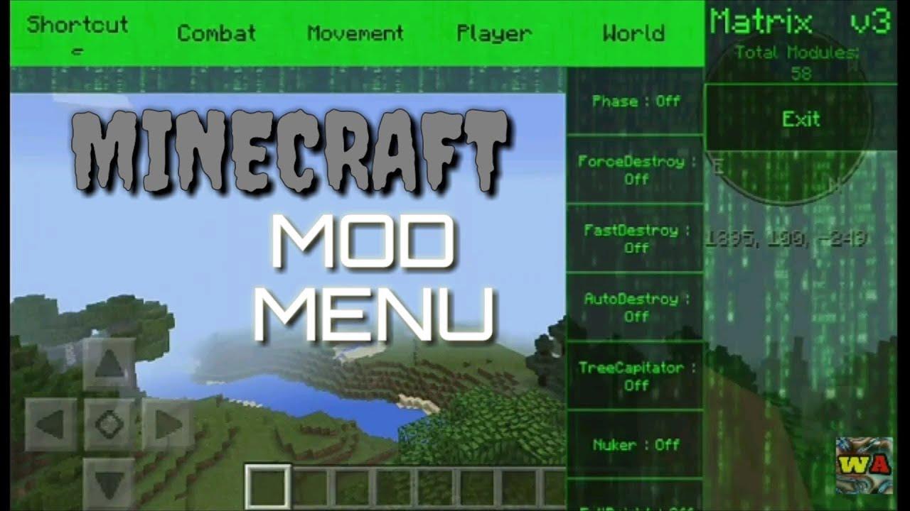 Minecraft pe [MATRIX] Mod Menu Review+Download - YouTube