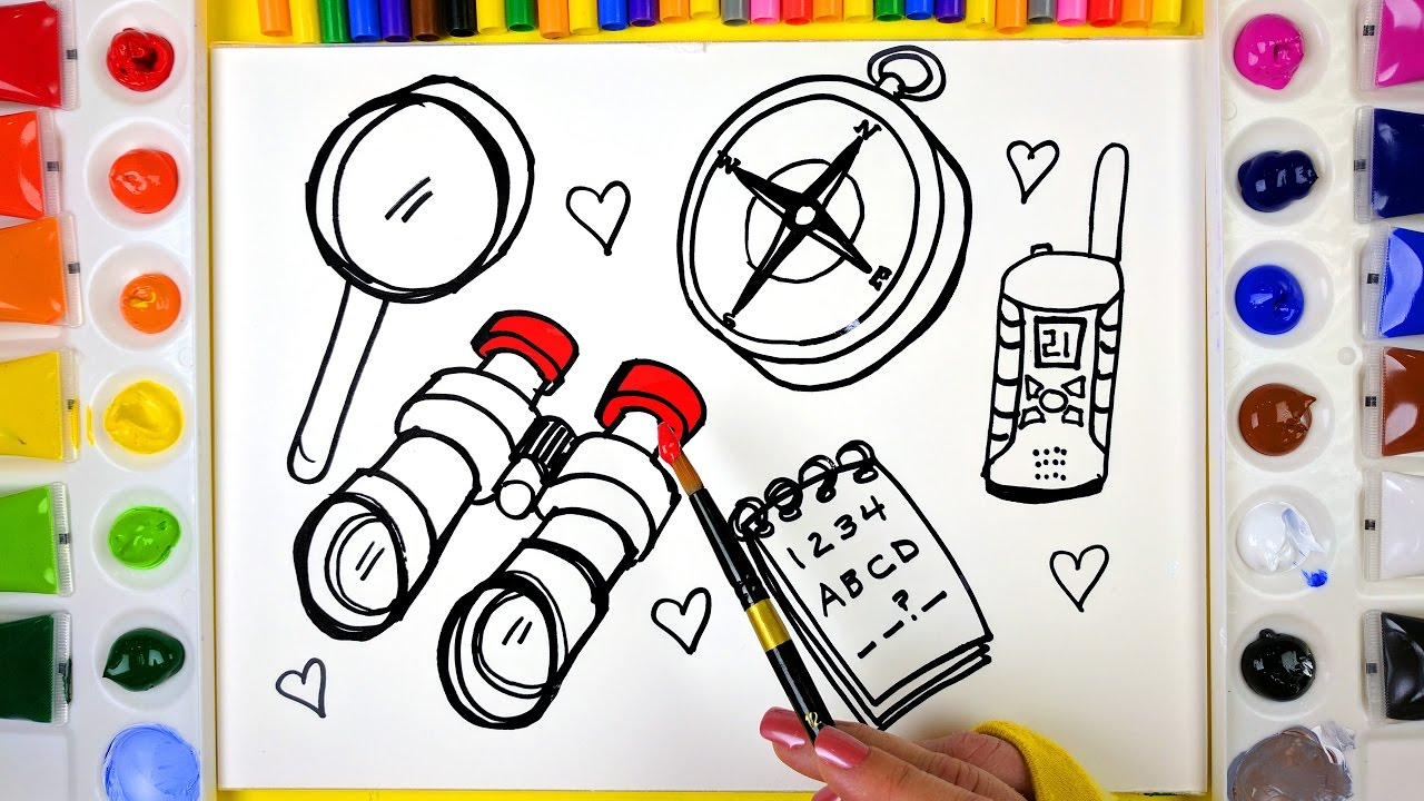 draw color paint spy tools coloring pages for kids to