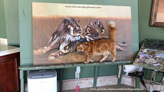 Funny Cat Checks Out Lion Art While Great Danes Nap