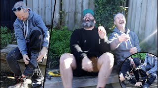 Idiot tries to put his pants on over his shoes for 2 minutes straight