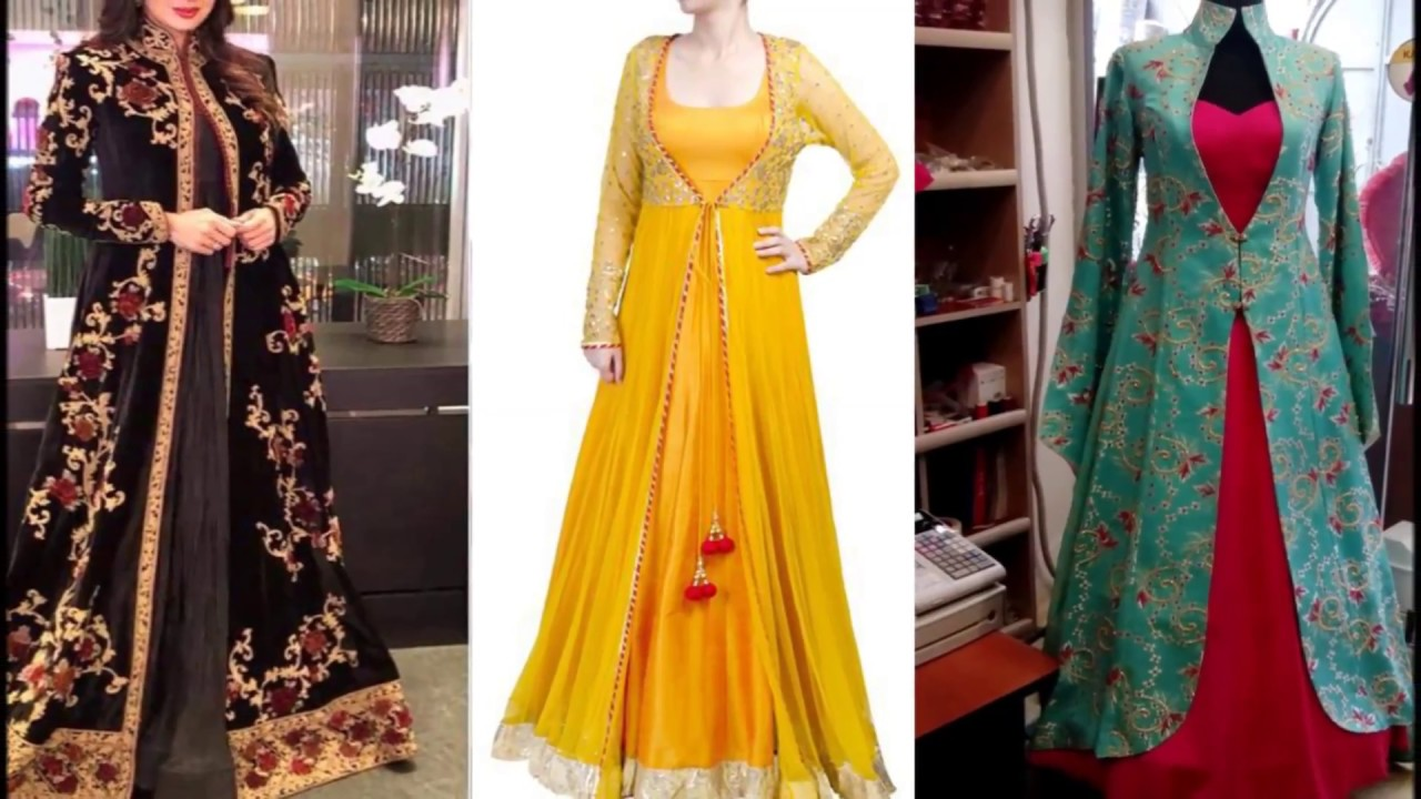 5b0ee6c1f0 Latest Party Wear Dresses With Long | long jacket gown | long jacket dress  | long jacket anarkali