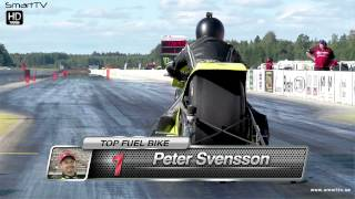 Peter Svensson runs the quickest Top Fuel Bike ET in the history of drag racing.
