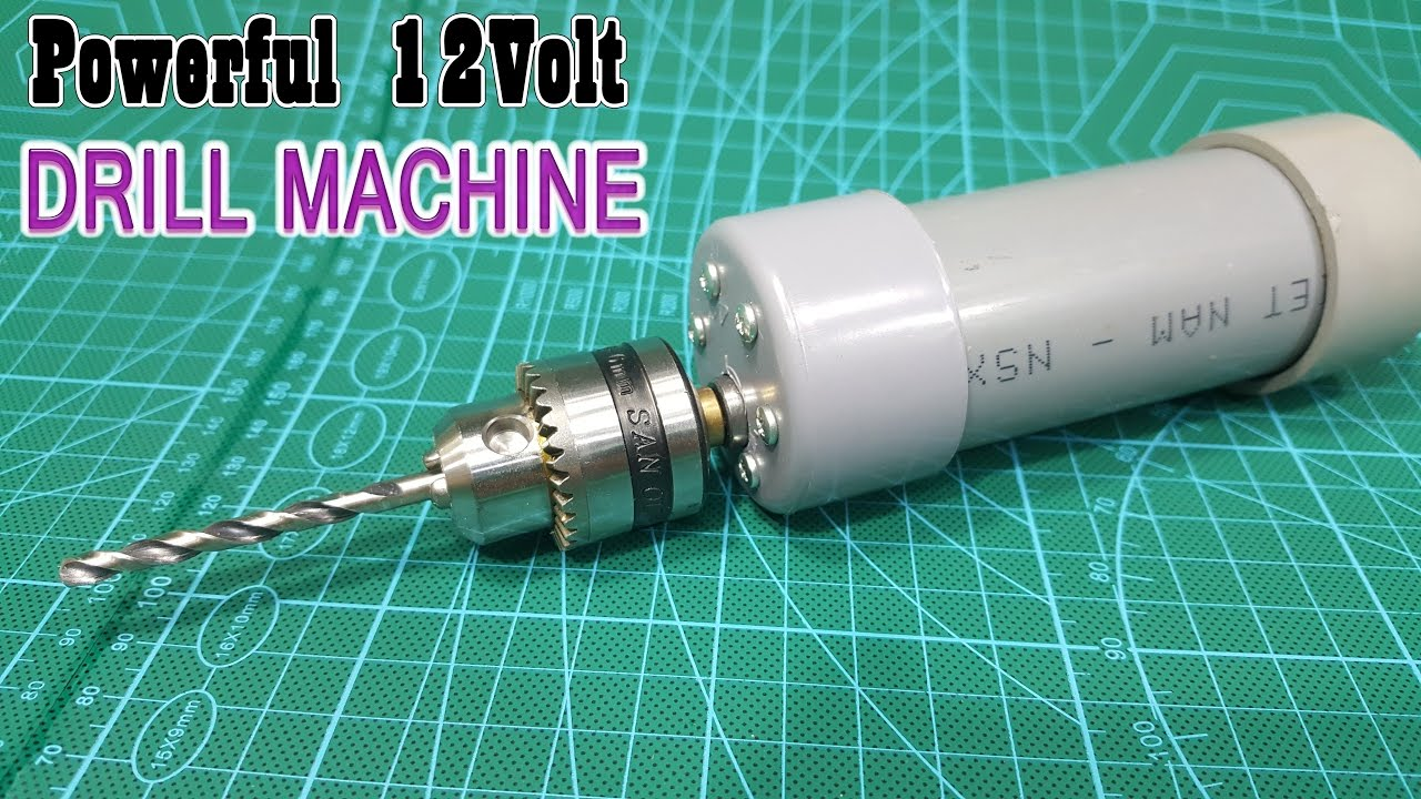 how to make powerful 12volt drill machine using pvc pipe youtube. Black Bedroom Furniture Sets. Home Design Ideas