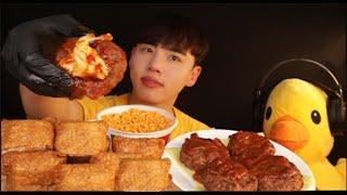 고메함박스테이크&스파게티&대왕유부초밥 3종먹방