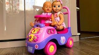 Утренние дела Маши и ее друзей. Кукла Белла и Беби Бон катаются на машинке