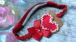 Coração bordado com Pérolas e strass+ coração de Lonita