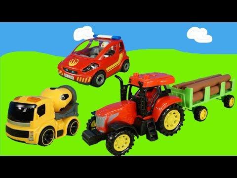 spielzeugautos-für-kinder---feuerwehrauto,-traktor,-polizeiauto,-müllauto-und-gabelstapler-für-kids