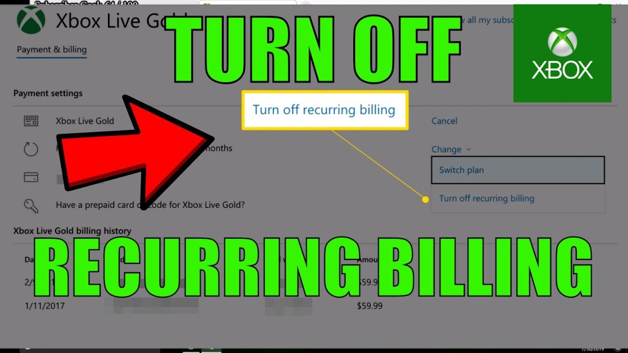 HOW TO TURN OFF RECURRING BILLING FOR XBOX LIVE IN 2019 (EASY)