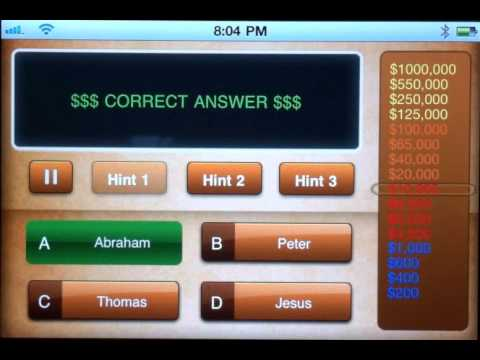 Make Me A Bible Millionaire the iPhone App Educational Trivia Game