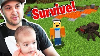 FATHER SON MINECRAFT SURVIVAL TIME!