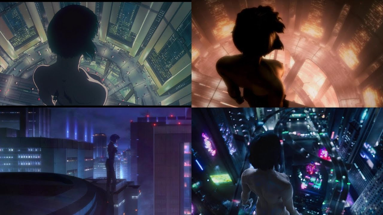 Ghost In The Shell Fall Scene Comparison 1 0 2 0 Individual Eleven And Live Action Youtube