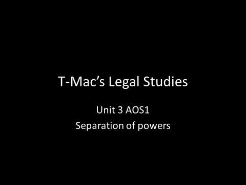 VCE Legal Studies - Unit 3 AOS1 - Parliament - Separation of powers