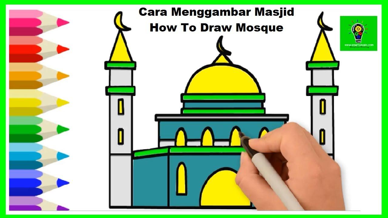 Cara Menggambar Masjid Mudah Untuk Pemula Belajar Mewarnai Masjid Indah Anak Sd Ra Tk Crayon Youtube