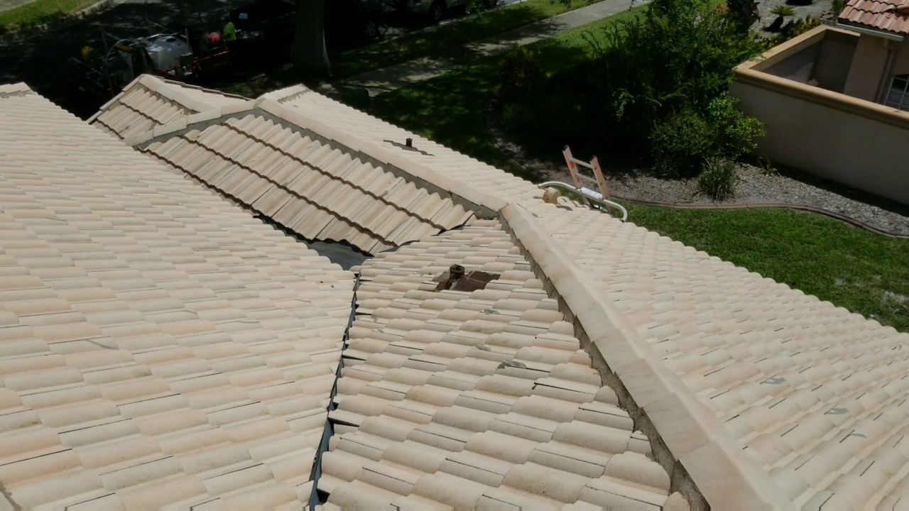 Concrete Barrel Tile Roof Cleaning - YouTube