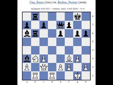 Budapest HUN 2017 Can Emre 2561 vs Berkes Ferenc 2648 Open Catalan Draw