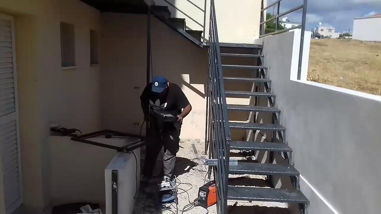 صناعة سلم ودرج حديد خارجي مع تفاصيل كاملة بطريقة سهلة وبسيطة How To Make An External Iron Ladder Youtube