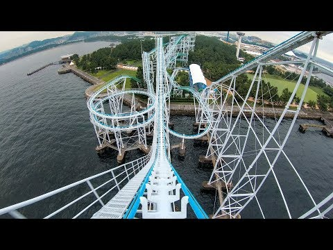 """Riding """"Surf Coaster"""" Roller Coaster at Sea Paradise in Japan! Front Seat 4K Onride POV"""