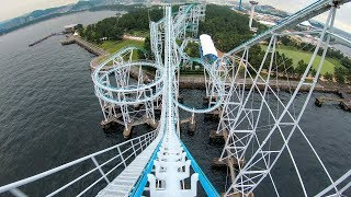 "Riding ""Surf Coaster"" Roller Coaster at Sea Paradise in Japan! Front Seat 4K Onride POV"
