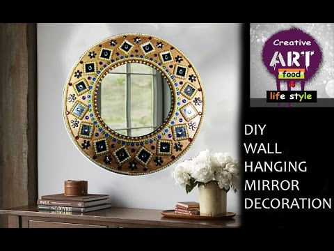 Diy wall hanging mirror decoration room decor art with for Room decoration from waste material