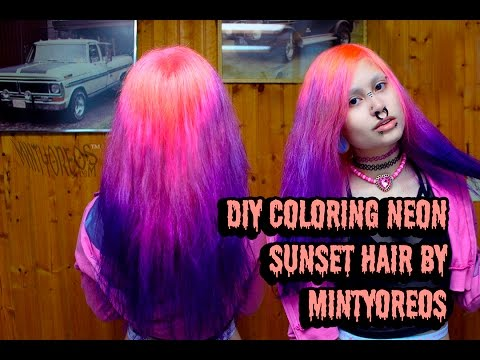 DIY COLORING NEON SUNSET OMBRE HAIR
