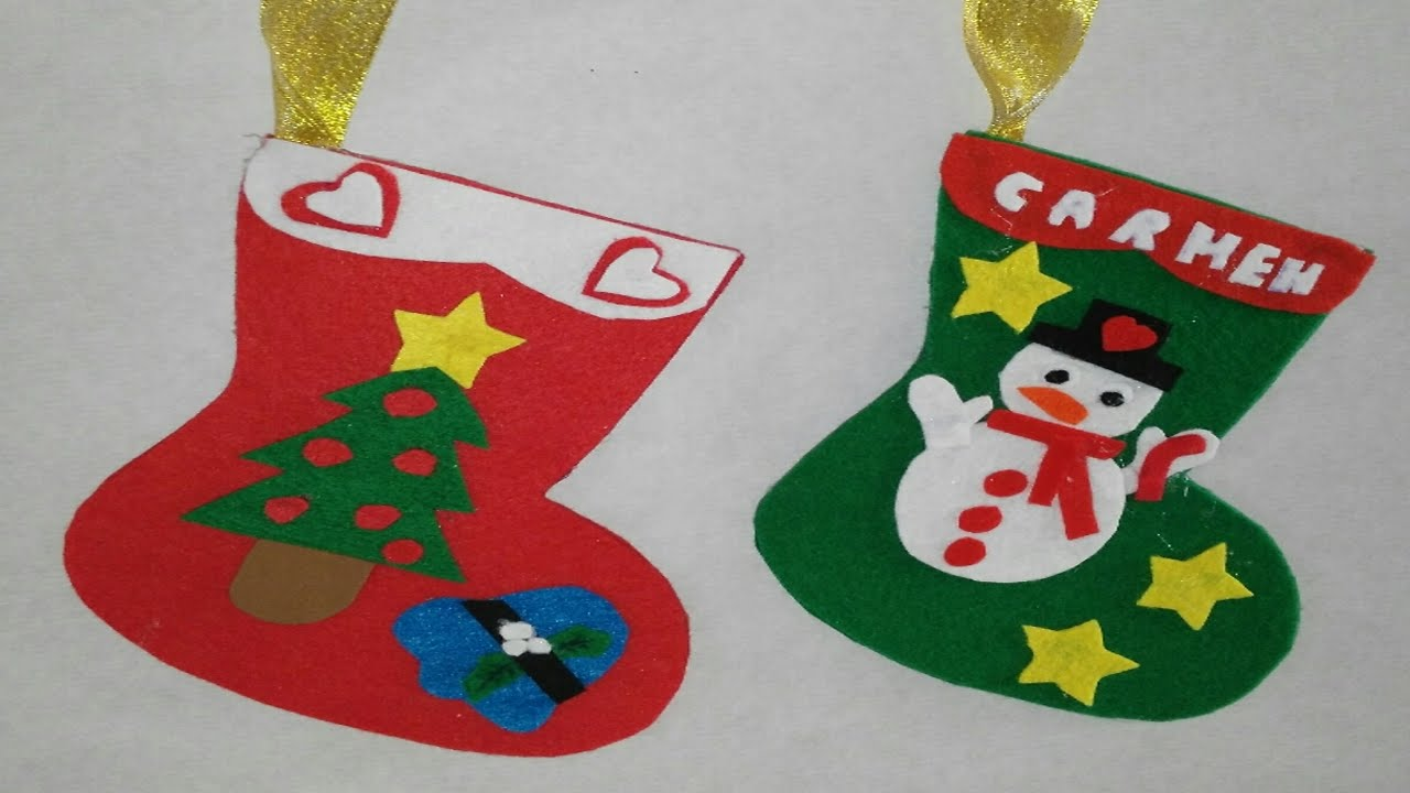 Como hacer botas de navidad adornos navide os manualidades - Como realizar adornos navidenos ...