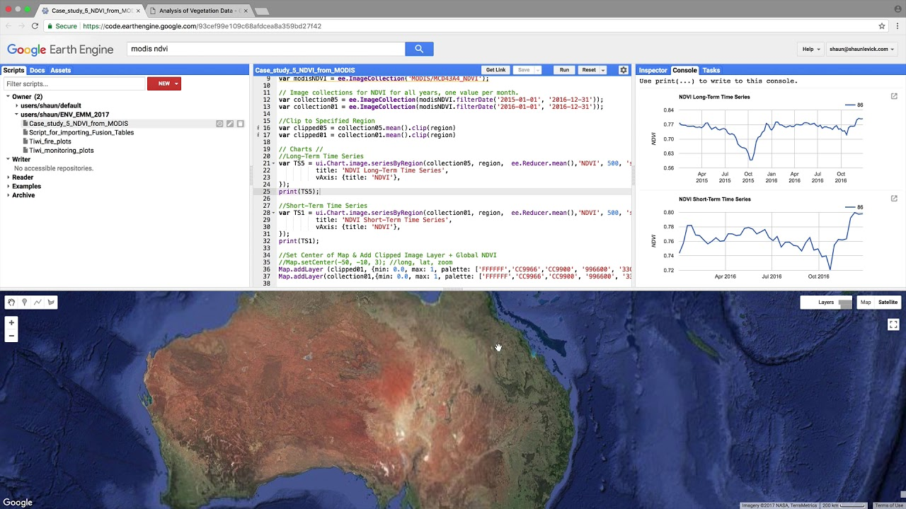 Exploring MODIS time-series NDVI with Google Earth Engine