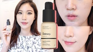 The Ordinary Serum Foundation Review & Demo • $6 Foundation • Is it Acne Skin Friendly?