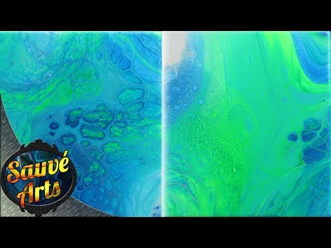 Fluid Acrylic Painting – Comparing Two Flip Cups, Same Colors, Same Technique Part 2