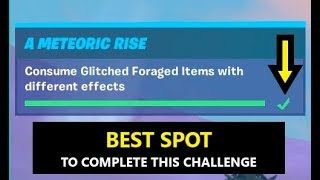 Consume Glitched Foraged items with different effects (Fortnite Season 10 METEORIC RISE CHALLENGES)