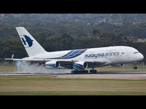 EXTREMELY RARE Malaysia Airlines A380-800 SMOKEY Landing at Melbourne Airport