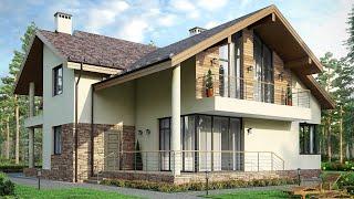 Проект дома в скандинавском стиле. Дом из арболита, с гаражом и террасой. Ремстройсервис М-219