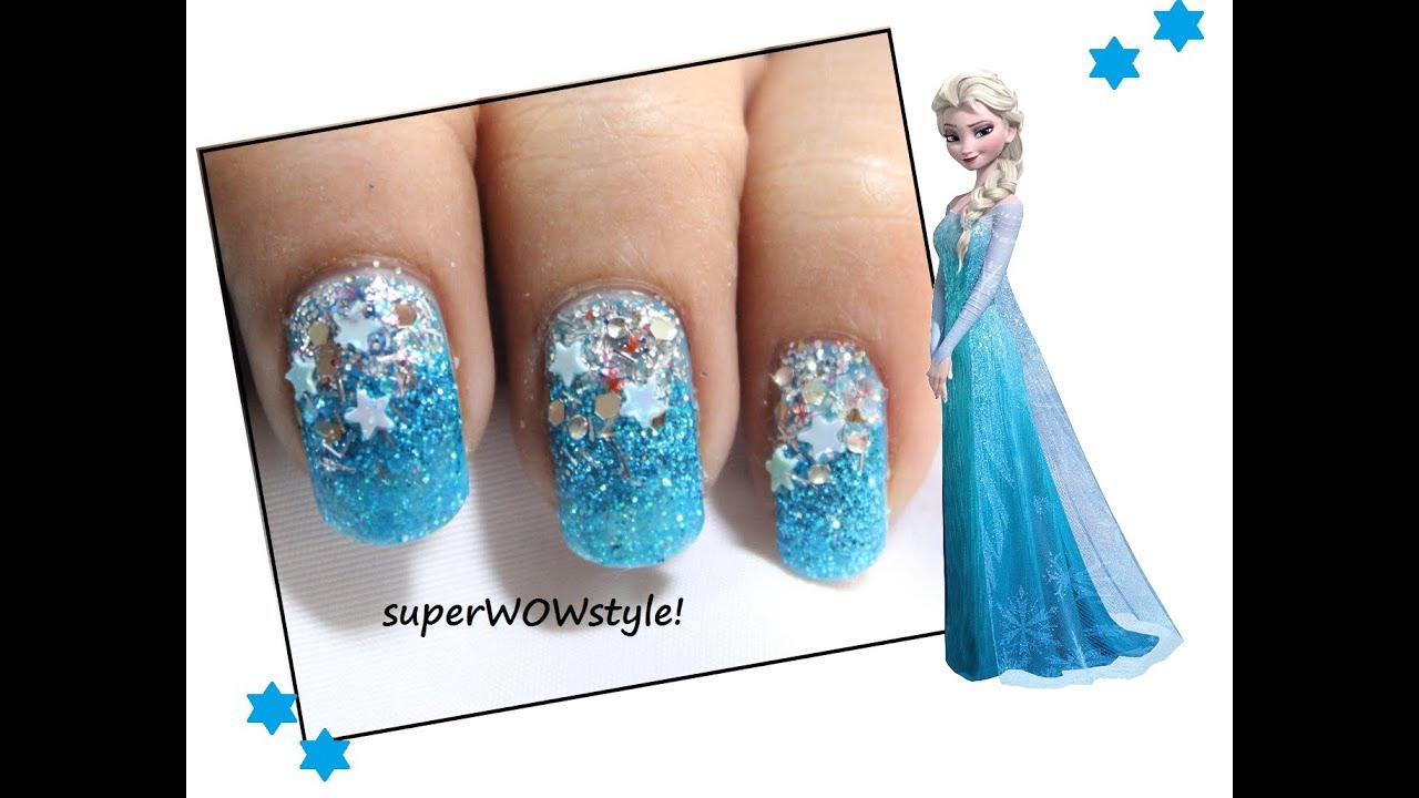 Glitter winter nails diy elsa frozen nail art youtube prinsesfo Gallery
