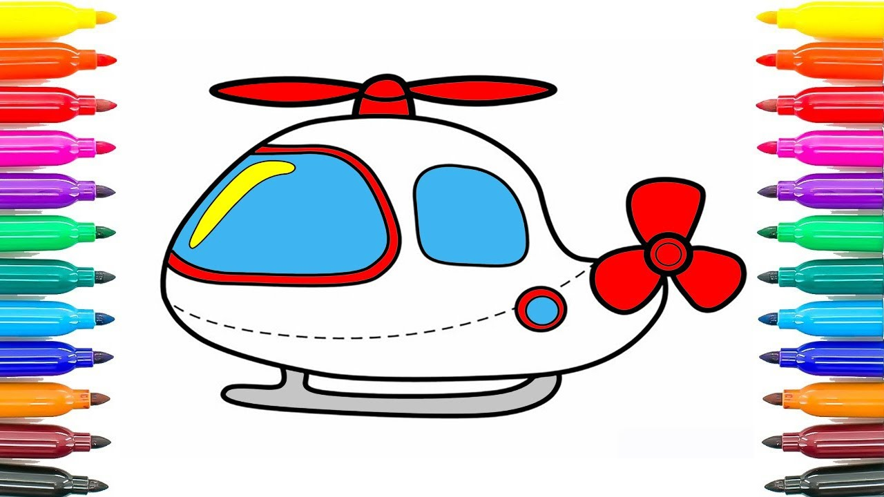 how to draw helicopter easy coloring pages for kids how to paint