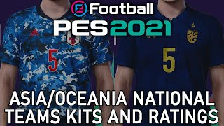 PES 2021 - Asia/Oceania national teams kits and ratings