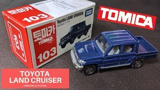 TOMICA MODEL NO. 103 TOYOTA LAND CRUISER SCALE 1/71 REVIEW & PLAY CAR TOY