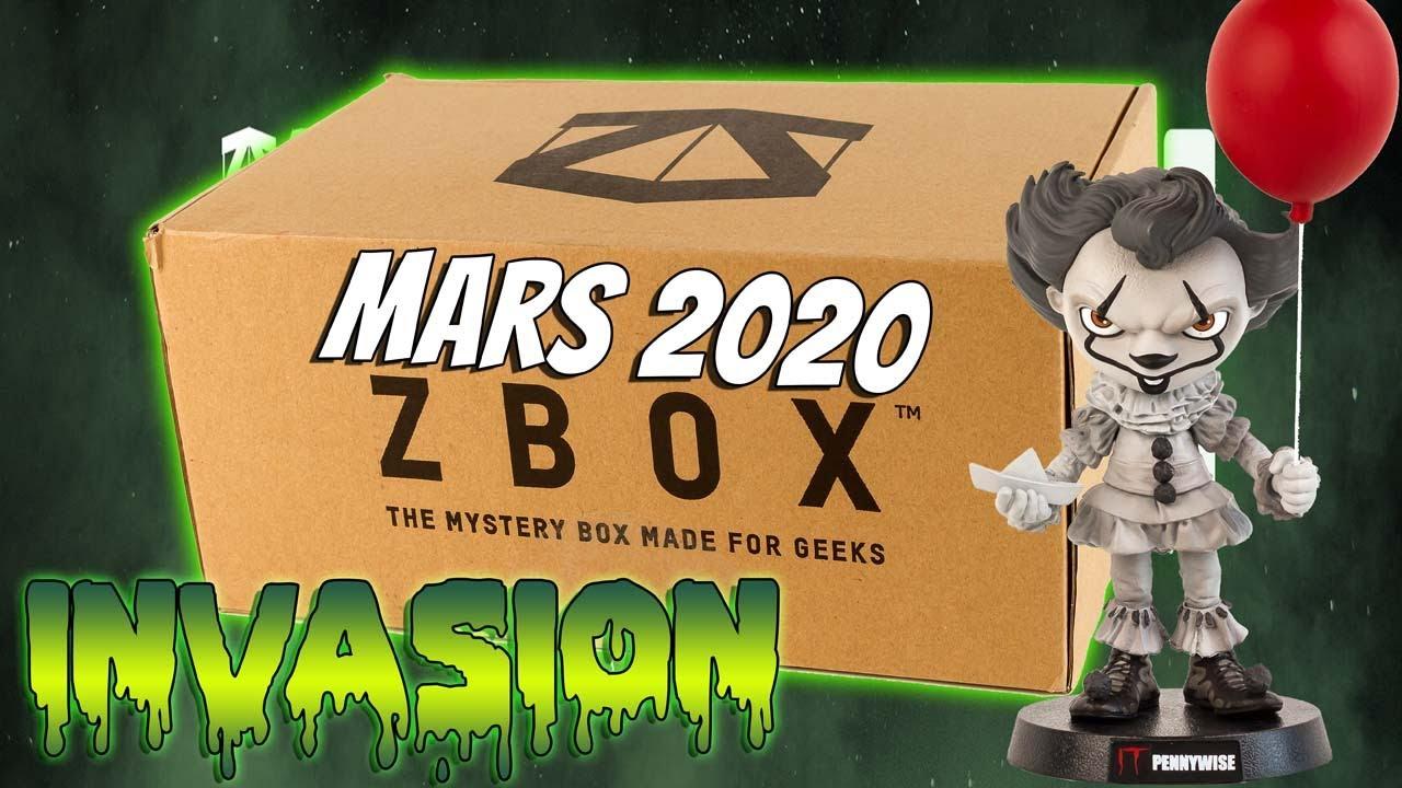 ZBOX Mars 2020 Invasion Alien Jurassic Park It Rick Morty Unboxing Box Mystère Geek Zavvi Français