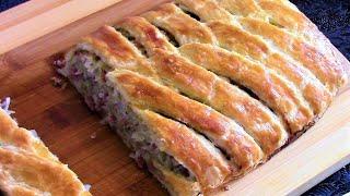 Изумительный пирог с колбасным фаршем из слоеного теста . Как приготовить слоеное быстрое тесто .