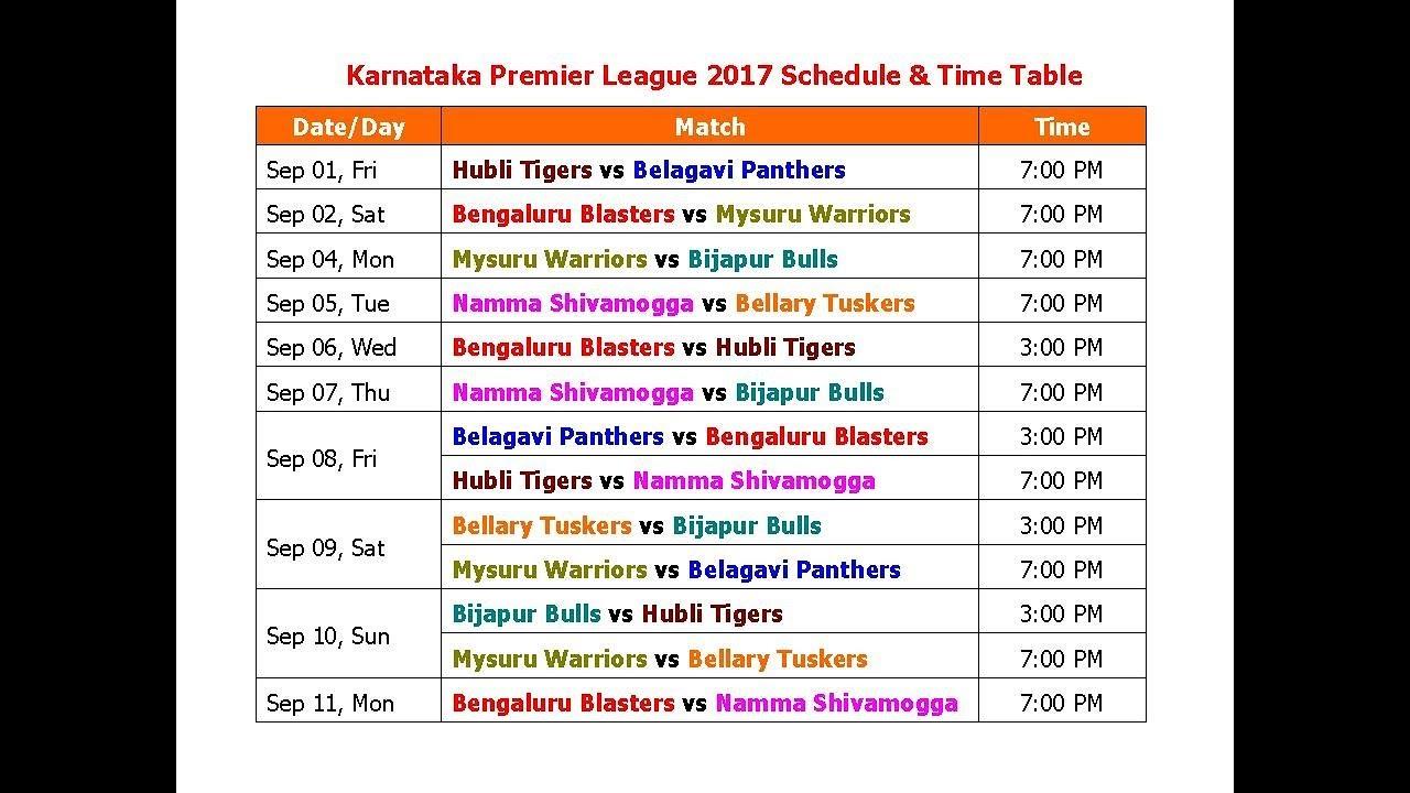 Karnataka premier league 2017 schedule time table youtube for League table 1984 85