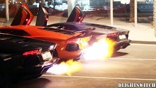 THREE Lamborghini Aventadors have a FLAME Contest