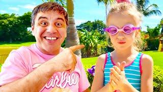 Nastya aprendeu a nadar na piscina, nova história para crianças