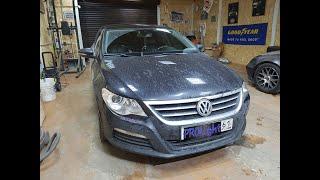 Volkswagen Passat CC. Установка биксеноновых линз Hella 3R Premium. Скрытая установка ксенона.