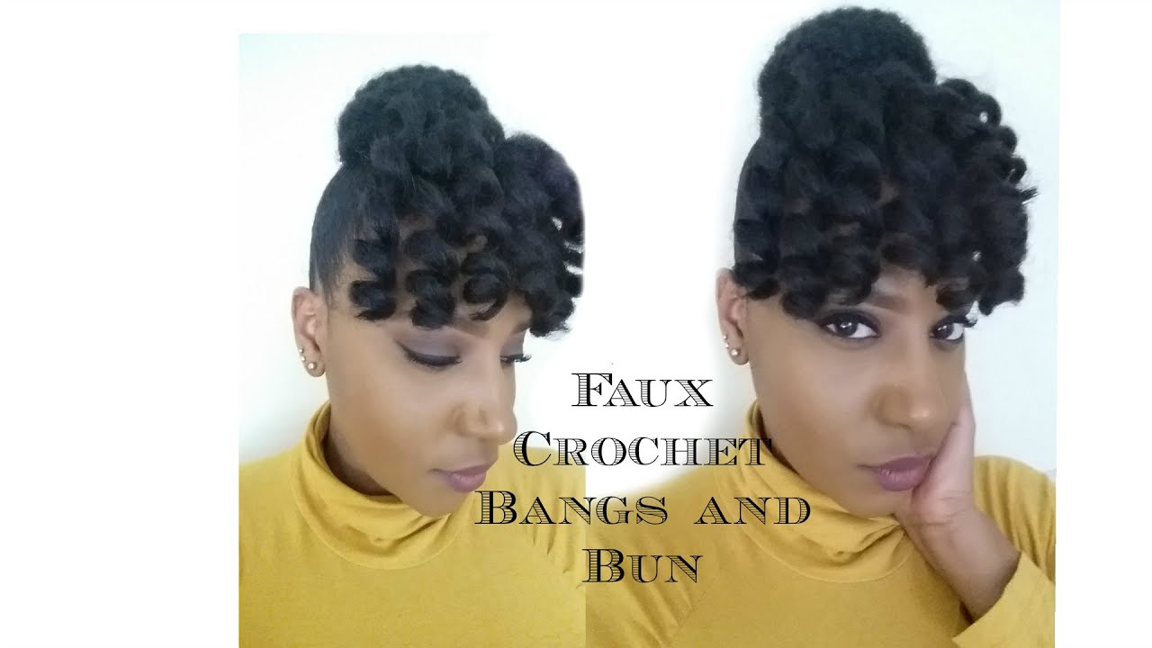Faux Crochet Bangs and Bun Jamaican Bounce and Marley Hair - YouTube