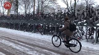 Cycling in the snow, Utrecht (NL)