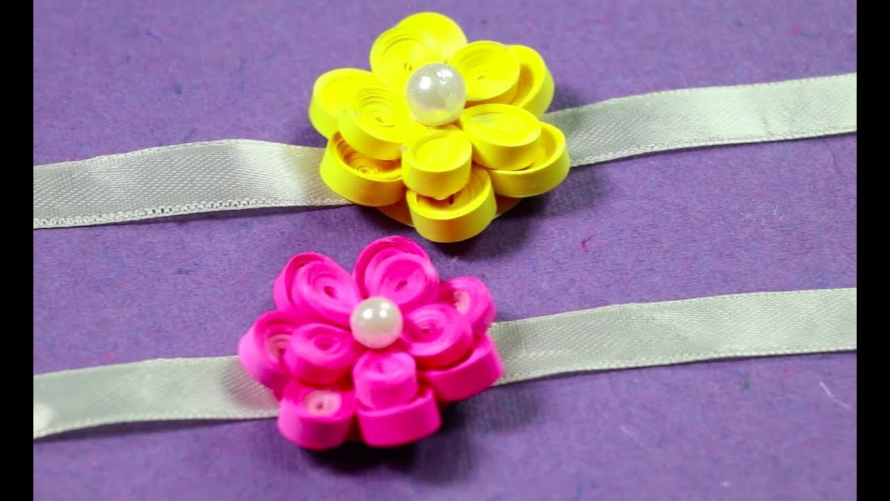 How To Make Flower Rakhi With Paper Quilling Very Quick Easy