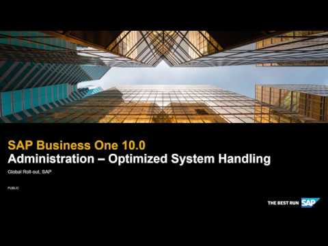 SAP Business One 10.0 Administration - Optimized System Handling thumbnail