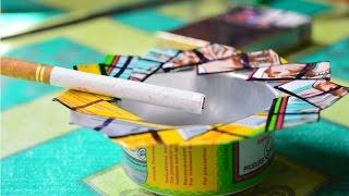 cara membuat asbak rokok bahan kaleng bekas