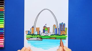 How to draw and color the Gateway Arch, St. Louis, Missouri