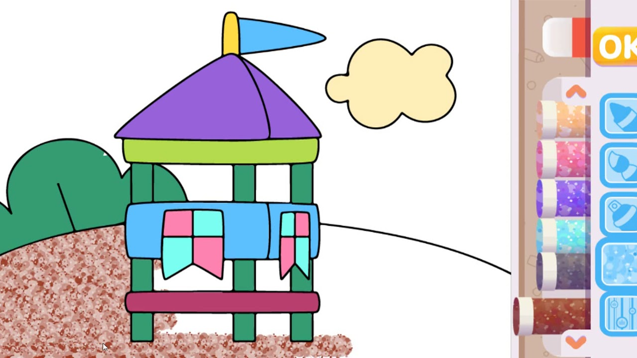 Beach house coloring pages for children